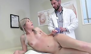 Young blonde girl seduces doctor on every side hardcore sex with an increment of blowjob
