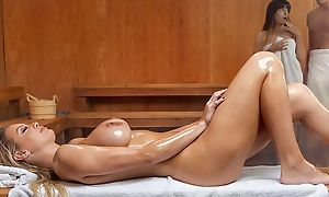 Cute milf down ratatat enjoys blowjob after sauna, fucking wet in hardcore sex act increased by having unrestrained anal sex