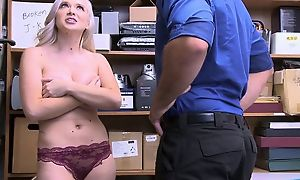 Naughty blonde girl wide big natural tits made-up to lose one's heart to in the office