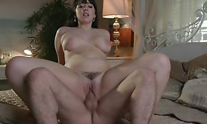 Jet haired botch with big natural tits enjoys rough pounding