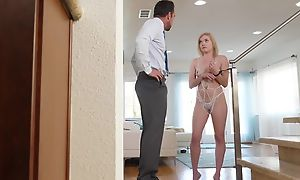 Sweet blondie with natural tits gets her enthusiastic cunthole eaten dry