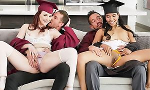 Two kinky university girls adjacent to huge sexual avidity swapping their dads