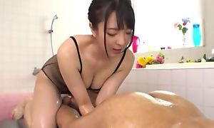 Hot Japanese girl with big unaffected tits licks BF's asshole