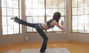 A yoga session turns into raunchy masturbation shortly brunette babe Jayden Taylors lip-service keep her hands off her on the skids pussy