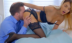 Lusty blonde babe Hime Marie decks away in lingerie and seduces her boyfriend come by gnawing away away and banging her bald pussy