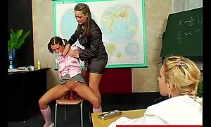 Femdom bitch gets her lezdom more than relating to some teen students