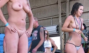 unused real women competing in biker convoke wet tshirt contest