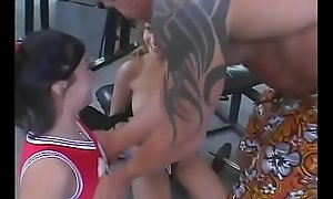 Scatological palmy Tyla Wynn and brunette Shay Lamar curvy bodies get deep anal drilling at gym